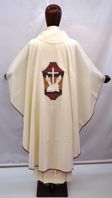 Chasuble 100 Wool With Franciscan Symbol Colour White